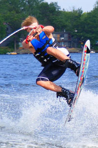 Waterskiing on Rice Lake